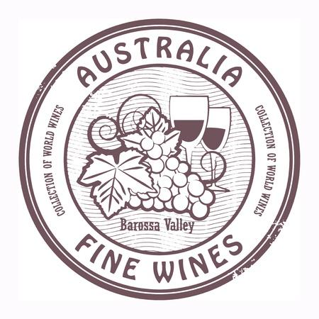 Австралия: Grunge штамп со словами Австралии, изысканные вина Иллюстрация
