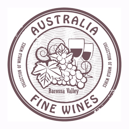 Grunge rubber stamp with words Australia, Fine Wines Vector