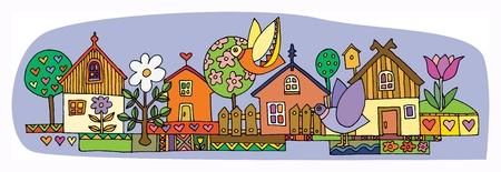 cottage garden: Colorful houses set, hand drawn illustration