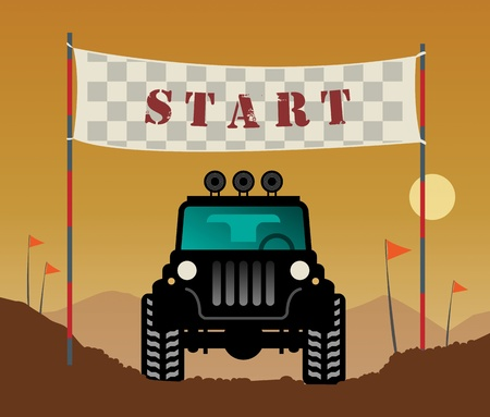 off road: Off-road race start Illustration
