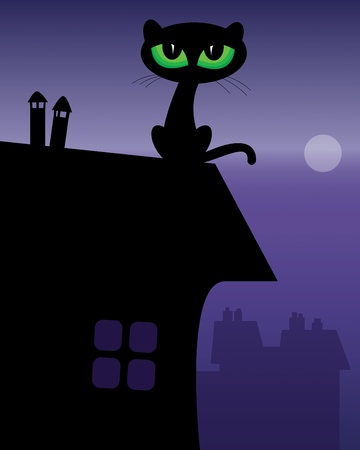 Black Cat on roof Stock Vector - 18088433