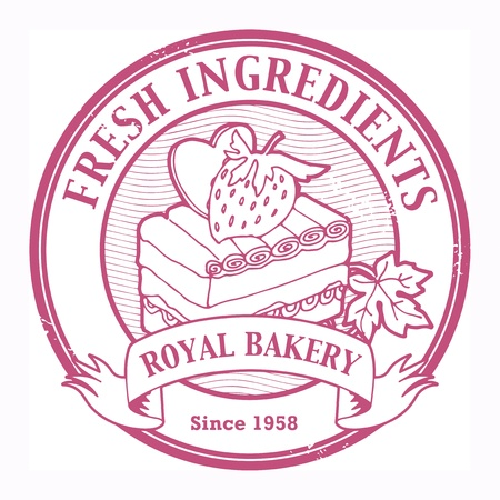 Grunge rubber stamp with cake and the text Fresh Ingredients written inside the stamp Vector