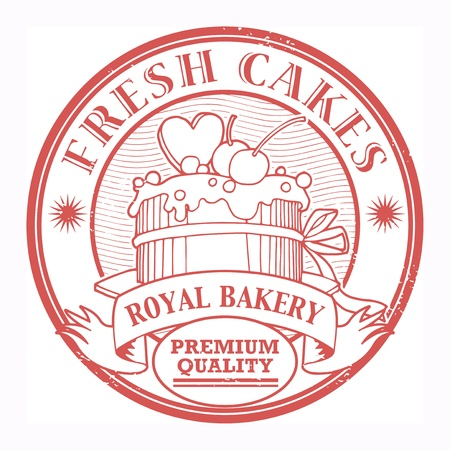 Grunge rubber stamp with cake and the text Fresh Cakes written inside the stamp Vector