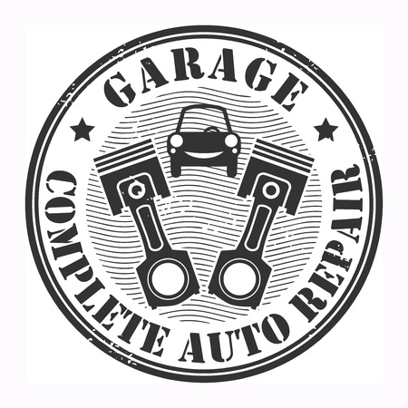 car tuning: Car service garage grunge stamp