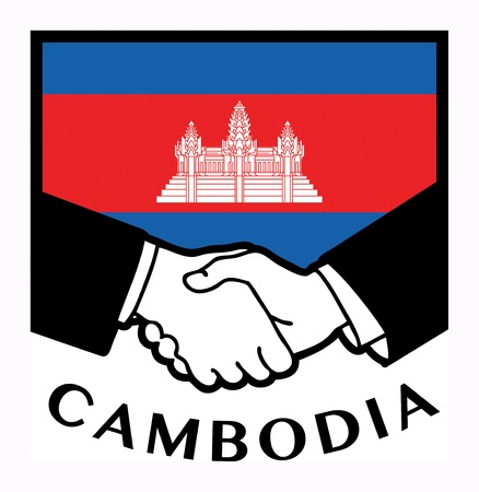 cambodian flag: Cambodia flag and business handshake