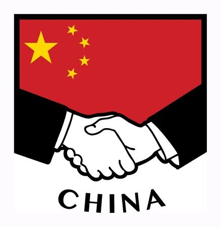 naciones unidas: Bandera de China y de negocios apretón de manos