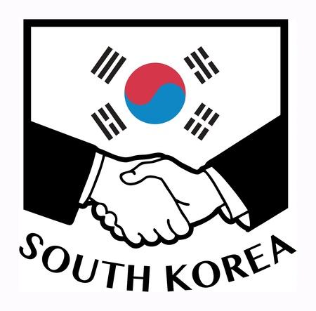 business meeting asian: Drapeau Cor�e du Sud et poign�e de main d'affaires