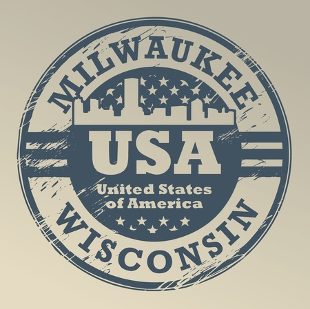 Grunge rubber stamp with name of Wisconsin, Milwaukee Vector