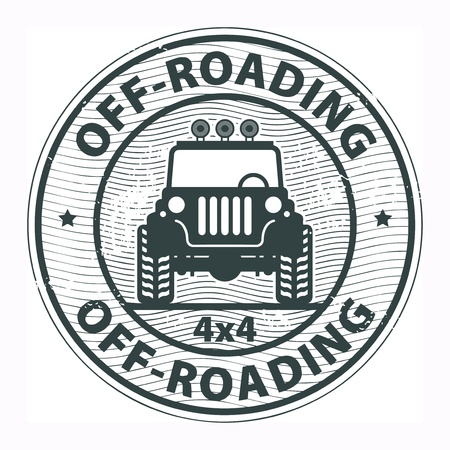 offroad car: Grunge rubber stamp with the words Off-roading written inside the stamp