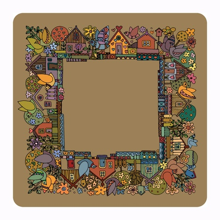 cottage garden: Colorful houses and garden - summer, hand drawn illustration