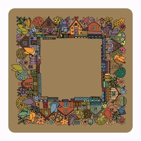 colourful houses: Las casas coloridas y jard�n - verano, dibujado a mano ilustraci�n