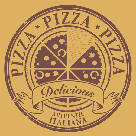Grunge stamp with text Pizza - Delicious written inside Vector