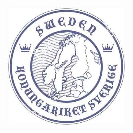 Grunge rubber stamp with the name and map of Sweden