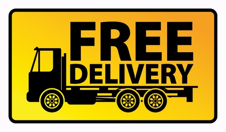 Delivery truck with text free delivery Stock Vector - 18088432