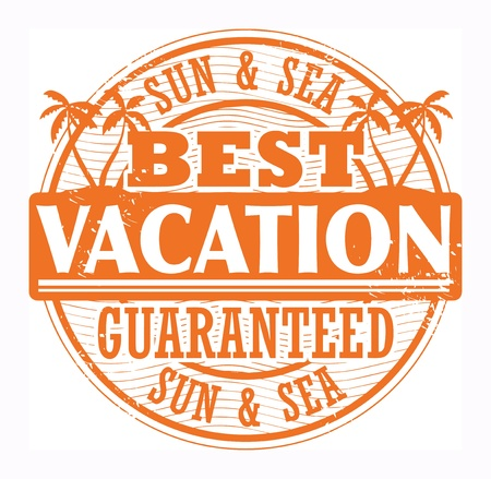 Grunge stamp with words Best Vacation, Sun and Sea written inside Vector