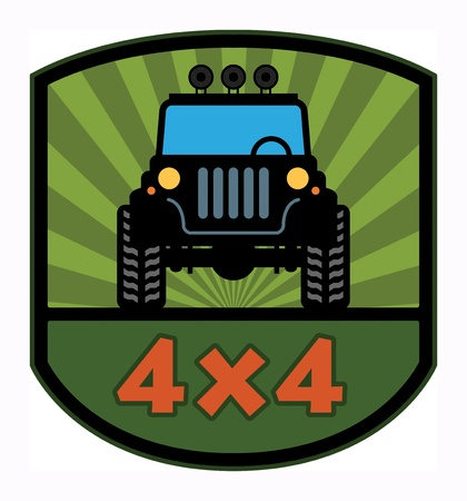 4x4: Off-road etiqueta Vectores