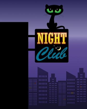 secret love: Gato Negro en el Night Club Vectores