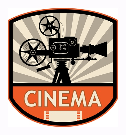 movie director: Cinema label, vector illustration
