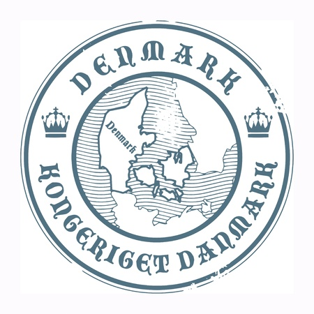 Grunge rubber stamp with the name and map of Denmark Vector