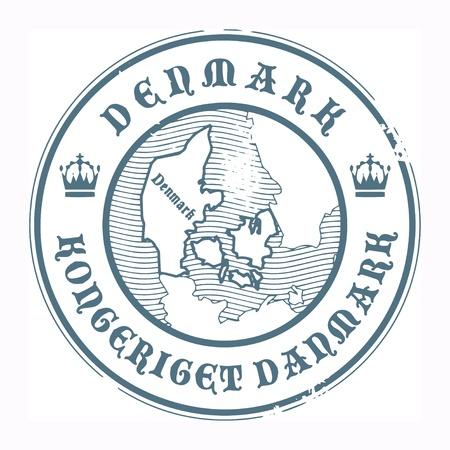Grunge Stempel mit dem Namen und der Karte von Dänemark