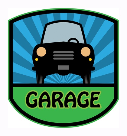 car garage: Car garage label Illustration