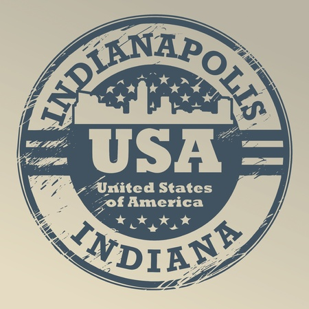Grunge rubber stamp with name of Indiana, Indianapolis Vector