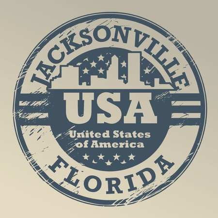 jacksonville: Grunge rubber stamp with name of Florida, Jacksonville
