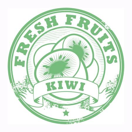 Fruit stamp, kiwi Stock Vector - 18136479