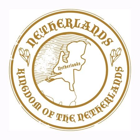 the netherlands: Grunge rubber stempel met de naam en de kaart van Nederland