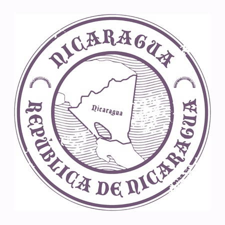 postal stamp: Grunge rubber stamp with the name and map of Nicaragua Illustration