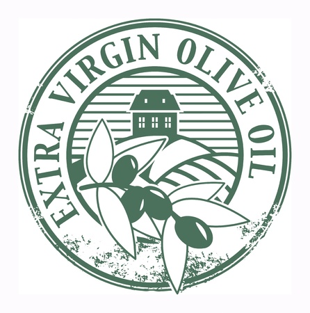 extra virgin olive oil: Grunge rubber stamp with the olives and text Extra Virgin Olive Oil