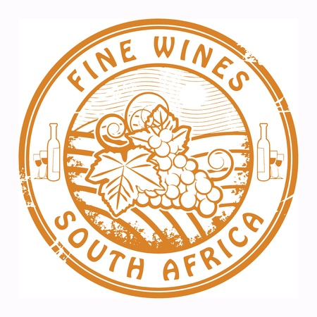 south africa: Grunge rubber stamp with words South Africa, Fine Wines Illustration