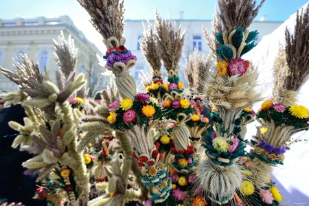 tradespeople: VILNIUS, LITHUANIA - MARCH 2: Unidentified peoples with traditional palm bouquets 'verbos' in annual traditional crafts fair - Kaziuko fair on Mar 2, 2013 in Vilnius, Lithuania. Editorial