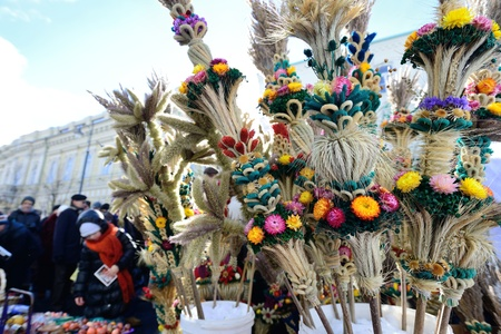 VILNIUS, LITHUANIA - MARCH 2: Unidentified peoples with traditional palm bouquets �verbos� in annual traditional crafts fair - Kaziuko fair on Mar 2, 2013 in Vilnius, Lithuania.