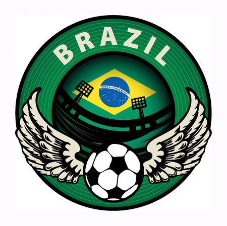 Label with football and name Brazil Stock Vector - 18230729