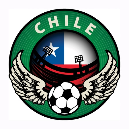 Label with football and name Chile Stock Vector - 18230778