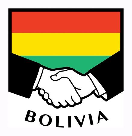 bandera de bolivia: Bolivia bandera y apret�n de manos de negocios Vectores