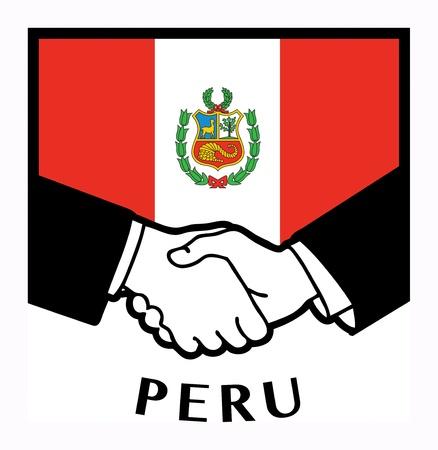 trade union: Peru flag and business handshake
