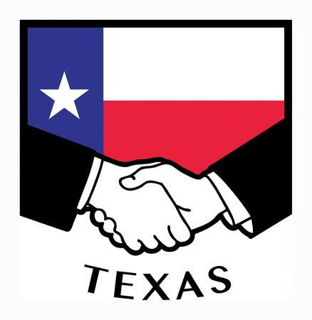 syndicate: Texas flag and business handshake Illustration