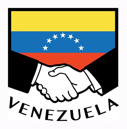 Venezuela flag and business handshake Vector