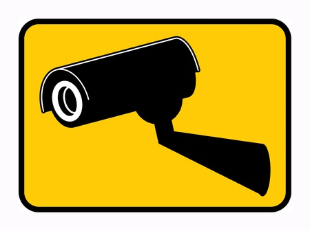caution cctv: Surveillance camera sign Illustration