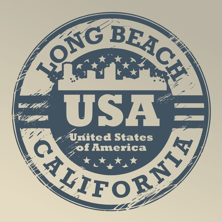 california state: Grunge rubber stamp with name of California, Long Beach