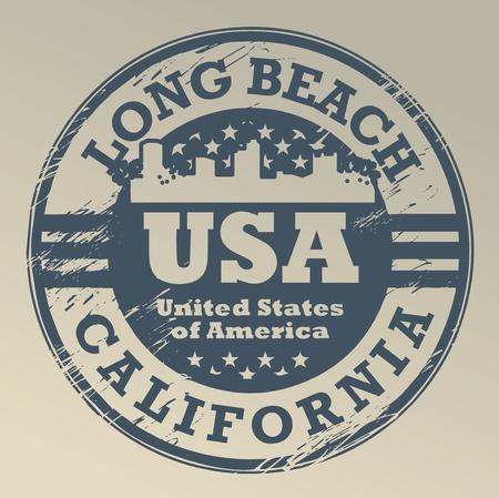 Grunge stempel met de naam van Californië, Long Beach