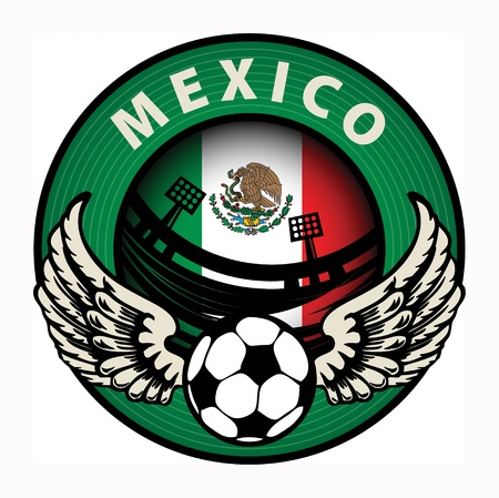 soccer stadium: Label with football and name Mexico