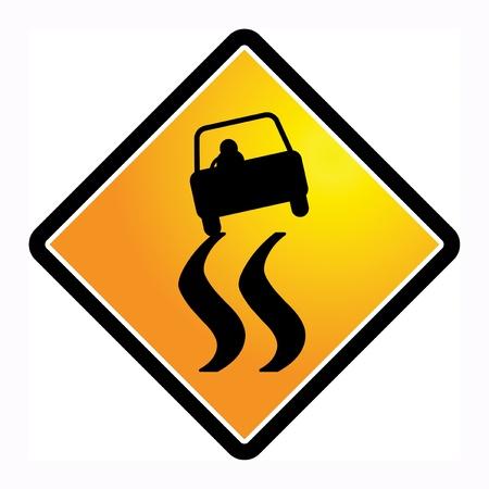 skid: Slippery road sign