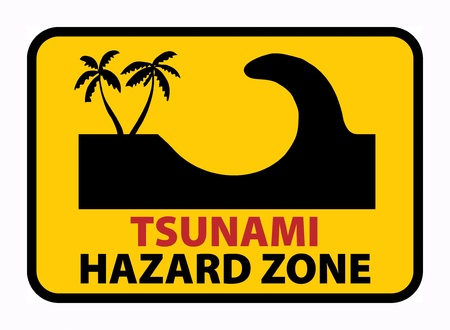 Tsunami Hazard Zone sign Vector