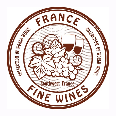 wines: Grunge rubber stamp with words France, Fine Wines