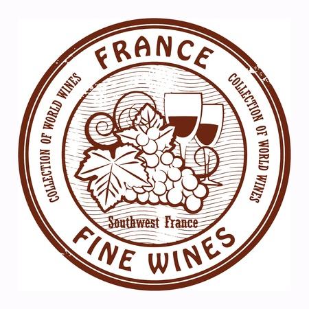 blanc: Grunge sello de goma con la palabra Francia, Vinos Finos