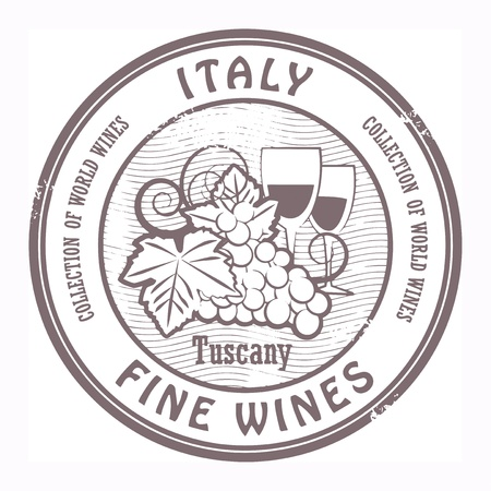 tuscany vineyard: Grunge rubber stamp with words Italy, Fine Wines