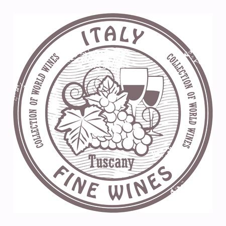 blanc: Grunge sello de goma con la palabra Italia, Vinos Finos